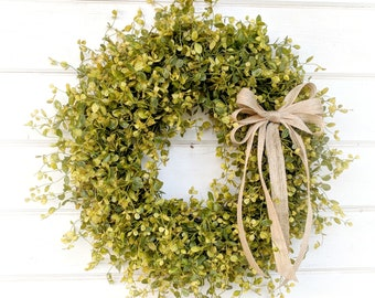 Greenery Wreath-Year round Wreath-Christmas Wreath-Bog Pimpernel-Farmhouse Decor-Home Decor-Summer Wreath-Outdoor Wreath-Front  Door Wreath
