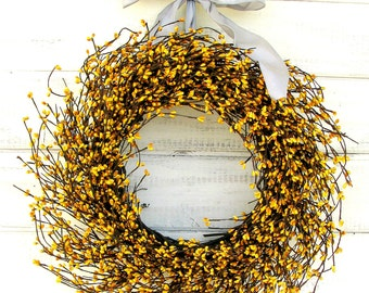Fall Door Wreath-Fall Wreaths-Wedding Decor-Summer Home Decor-YELLOW Berry Wreath-Country Home Decor-Housewarming Gift-Scented Wreaths