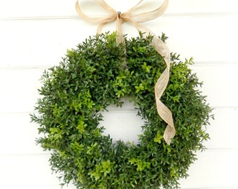 Spring Wreath-Summer Wreath-Boxwood Wreath-Farmhouse Wreath-Farmhouse Decor-Wreaths-Year Round Wreath-Outdoor Wreath-Housewarming Gift