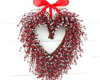 Valentines Wreath-Valentines Day Decor-RED & WHITE HEART Wreath-Valentines Day Gift-Gift for Mom-Scented Wreath-Anniversary Gift-Weddings