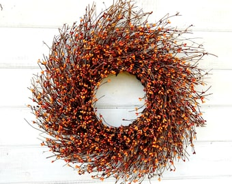 Fall Wreath-Fall Door Decor-Thanksgiving Wreath-PUMPKIN SPICE Door Wreath-Fall Twig Wreath-Rustic Wreath-Autumn Berry Wreath-Fall Home Decor