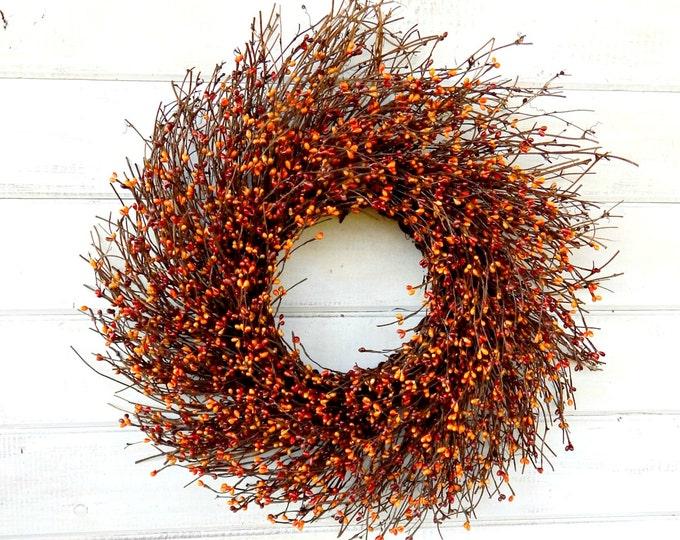 Featured listing image: Fall Wreath-Fall Door Decor-Thanksgiving Wreath-PUMPKIN SPICE Door Wreath-Fall Twig Wreath-Rustic Wreath-Autumn Berry Wreath-Fall Home Decor