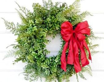 Valentine Wreath-Valentines Day Decor-Boxwood Wreath-BOXWOOD & FERN Wreath-Farmhouse Wreath-Year Round Wreath-Farmhouse Decor-Gifts
