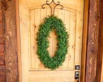 Winter Wreath-Boxwood Wreath-Winter Wreath-Large Oval Door Wreath-Christmas Wreaths-Door Decor-Housewarming Gift-Holiday Door Wreath-Gifts