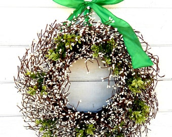 St. Patricks Day Wreath-St. Patty Decor-Spring Door Wreath-Rustic Wreath-Green Berry Wreath-Spring Home Decor-Scented Wreaths-Custom Gifts