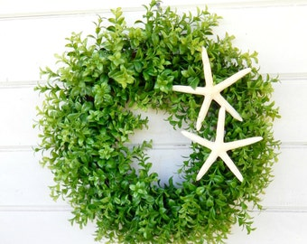 Beach Decor-Coastal Wreath-Boxwood Wreath-Beach House Wreath-Starfish Wreath-Coastal Home Decor-Seaside Decor-Bathroom Decor-Coastal Gift