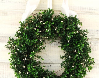Boxwood Wreath-Spring Wreaths-Summer Wreath-COUNTRY COTTAGE BOXWOOD Wreath-Boxwood Wreath-Outdoor Wreath-Scented Wreaths-Winter Door Wreath