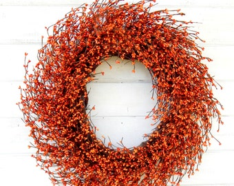 Fall Wreath-Mantel Wreath-Wreath for Fireplace-Thanksgiving Wreath-Fall Door Wreath-BURNT ORANGE Door Wreath-Autumn Wreath-Scented Wreaths