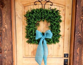 Farmhouse Decor-Boxwood Wreath-Square Wreath-Outdoor BOXWOOD Wreath-Summer Wreath-Fall Wreath-Home Decor-Year Round Wreath-Wedding Gift-Gift