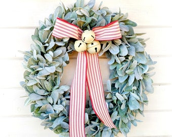 Christmas Wreath-Christmas Decor-Farmhouse Wreath-Lambs Ear Wreath-Wreaths-Holiday Wreath-Christmas Gift-Greenery Wreath-Door Wreath-Gifts