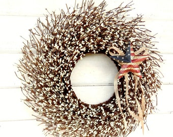 Summer Wreath-Patriotic Wreath-USA Decor-4th of July Door Wreath-Military Wreath-Primitive Star Wreath-Scented Wreath-Twig Wreath-Gifts