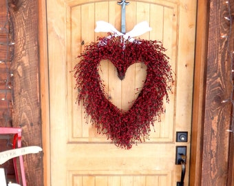 Valentines Day Wreath-Valentine Heart Wreath-Wedding Wreath-Valentines Wreath-Valentines Day Decor-LARGE RED HEART Wreath-Valentines Day