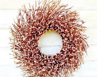Spring Wreath-PINK Twig Wreath-Baby Nursery Wreath-Baby Girl Room Decor-PINK Berry Wreath-Baby Shower Wreath-Girls Pink Bedroom Decor-Gifts