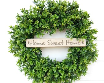 Farmhouse Decor-Boxwood Wreath-Spring Wreaths-Outdoor Wreath-Farmhouse Door Wreath-Summer Wreath-Outdoor Wreath-Home Decor-Housewarming Gift