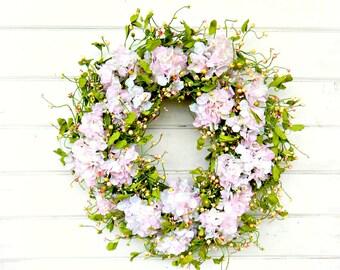 Mothers Day-Mothers Day Wreath-Hydrangea Wreath-Gift for Mom- Farmhouse Decor-Wedding Decor Wedding-Wedding Reception-Housewarming Gift