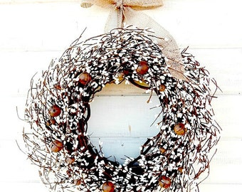 Rustic Primitive Wreath-Winter Wreath-Primitive Home Decor-BURLAP & BELLS Door Wreath-Rustic Home Decor-Wall Hanging-Scented Wreath