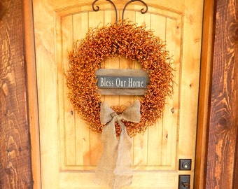 Fall Wreath-Fall Decor-BLESS OUR HOME-Large Pumpkin Orange & Burlap Wreath-Fall Door Decor-Rustic Home Decor-Autumn Decor-Choose Scent