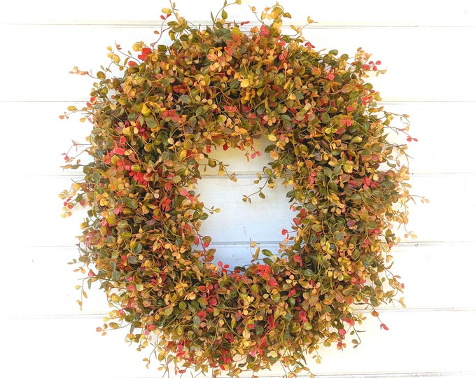 Featured listing image: Fall Wreath-Fall Decor-Autumn Wreath-Fall Door Wreath-Bog Pimpernel-Farmhouse Decor-Home Decor-Autumn Decor-Outdoor Wreath-Front Door Wreath