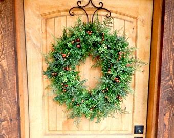 Fall Wreath-BOXWOOD Wreath-Fall Door Wreath-Autumn Wreath-Outdoor Wreath- Fall Home Decor-Housewarming Gift-Fern Wreath-Front Door Wreath