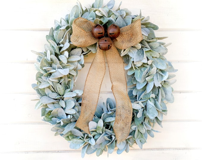 Featured listing image: Christmas Wreath-Christmas Decor-Farmhouse Wreath-Lambs Ear Wreath-Wreaths-Holiday Wreath-Christmas Gift-Greenery Wreath-Door Wreath-Gifts
