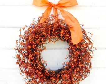 Thanksgiving Wreath-Fall Wreath-Scented Mini Pumpkin Wreath-Autumn Door Wreath-Thanksgiving Decor-Rustic Holiday Home Decor