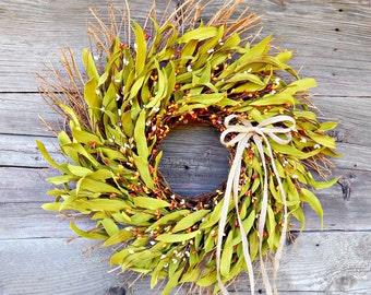 Fall Wreath-Fall Decor-Burlap Twig Wreath-Rustic Home Decor-ORANGE& YELLOW Berry Wreath-Autumn Door Decor-Custom Scented Wreaths