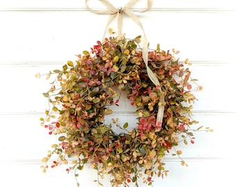 Mini Window Wreath-New 2018-Greenery Wreath-Farmhouse Wreath-Small Wreath-RED GREEN & GOLD Bog Pimpernel-Farmhouse Decor-Wall Decor