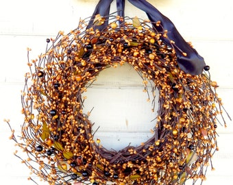 Thanksgiving  Wreath-Fall Door Wreath-CANDY CORN Wreath-Thanksgiving Wreath-Autumn Door Decor-Rustic Wreath-Custom Choose Ribbon & Scent