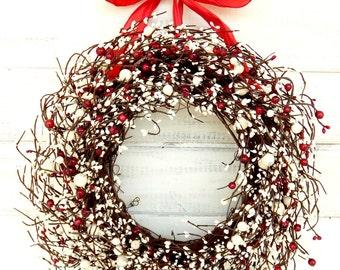 Christmas Door Wreath-Holiday Wreath-Christmas Decor-Winter Wreaths-RED & WHITE Wreath-Holiday Home Decor-Winter Home Decor-Gift for Mom