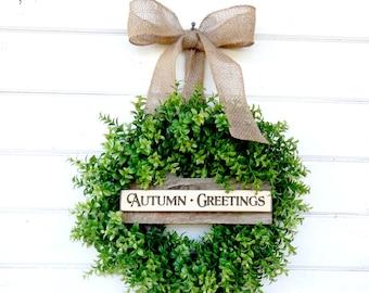 BOXWOOD Wreath-Fall Wreath-Autumn Wreath-Holiday Home Decor-Fall Home Decor-SCENTED Wreath-Faux Boxwood Wreath-Outdoor Wreath-Gift for Mom
