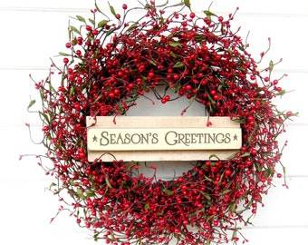 christmas wreath winter wreath christmas home decor holiday wreath red berry wreath rustic christmas wreath holiday home decor scent wreaths - Christmas Wreaths Etsy