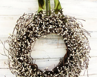 Spring Wreath-Summer Wreath-Winter Wreath-Wreath-Farmhouse Wreath-Door Wreath-Wedding Decor-White Wreath-Housewarming Gift-Home Decor