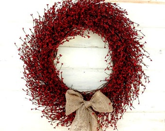 Summer Wreath-Large Red Wreath-Summer Door Wreaths-Holiday Home Decor-BURLAP RED BERRY Wreath-Scented Wreath-July 4th Decor-Patriotic Decor