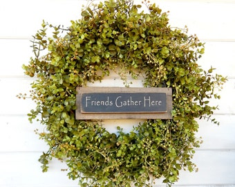 Summer Wreath-Eucalyptus Wreath-Door Sign-Housewarming Wreath-Fall Wreath-Winter Wreath-Holiday Wreath-Outdoor Wreath-Year Round Wreath-Gift