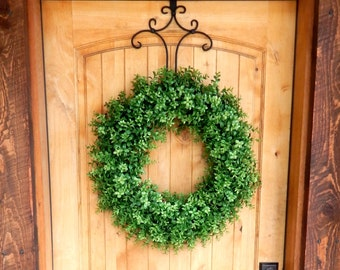BOXWOOD Wreath-Fall Wreath-Faux Boxwood Door Wreath-Outdoor Wreath-Year Round Wreath-Home Decor-Artificial Wreath-Custom Made USA-Gifts