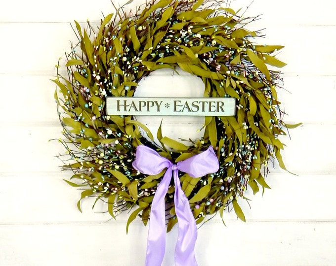 Featured listing image: Easter Wreath-Spring Wreath-Spring Door Wreaths-Twig Wreath-Easter Door Wreath-Pastel Bay Leaf Wreath-Scented Wreath-Holiday Home Decor