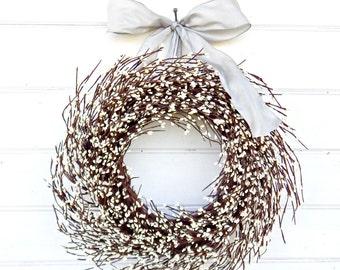 Wedding Decor-Winter Wedding-Wedding Wreath-Christmas Wreath-GRAY & ANTIQUE WHITE Wreath-Wedding Decor-Scented Wreaths-Housewarming Gift