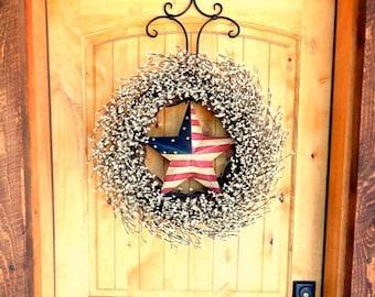 4th July Wreath-PATRIOTIC Door Wreath-Star Wreath-Summer Wreath-4th July Wreath-Scented Wreaths-Holiday Home Decor-Front Door Wreaths