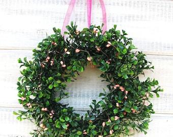 Mini Boxwood Wreath-Spring Wreath-Easter Wreath-Wedding Wreath-SHABBY CHIC PINK-Mini Window Wreath-Country Cottage Wreath-Mini Boxwood