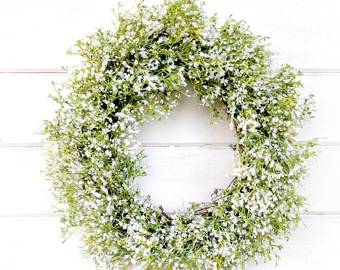 Featured listing image: Wedding Wreath-White Wreath-Baby's Breath Wreath-Farmhouse Decor-Wedding Decor-Gypsophila -Cottage Decor- Vintage Farmhouse Wreath-Weddings