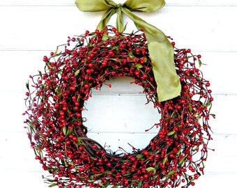 Christmas Wreath-Christmas Decor-Winter Wreath-Winter Decor-Front Door Wreath-Red Berry Wreath-Farmhouse Wreath-Holiday Decor-Door Wreath