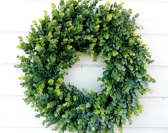 Farmhouse Wreath-EUCALYPTUS Wreath-Door Wreath-Spring Wreath-Summer Wreath-Outdoor Wreath-YearRound Wreath-Farmhouse Decor-Housewarming Gift