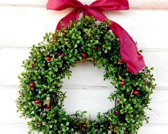Boxwood Wreath-Summer Wreath-Fall Wreath-CRANBERRY & SAGE BOXWOOD Wreath-Home Decor-Boxwood Wreath-Year Round Wreath-Outdoor Wreath-Gifts