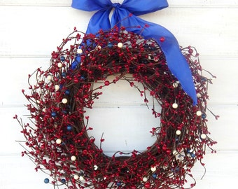 July 4th Wreath-Patriotic RED WHITE & Blue Door Wreath-Summer USA Wreath-Holiday Decor-Patriotic Home Decor-Scented Wreaths-Custom Gifts