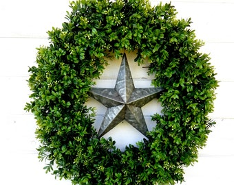 Summer Wreath-Boxwood Door Wreath-TEXAS STAR Wreath-Primitive Country Decor-Fall Wreath-Boxwood Wreath-Outdoor Wreath-Custom Gifts