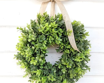 MINI Boxwood Wreath-Boxwood Wreath-Window Wreath-Small Wreath-Country Cottage Wreath-Artificial Boxwood Wreath-Wall Hanging-Greenery Wreath