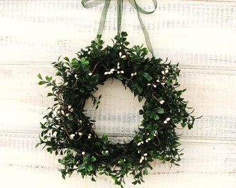 MINI Window Wreath-Country Cottage Wreath-Artifical Boxwood Wreath-Spring Wreath-Gift for Mom-Wall Hanging-Small Wreath-Scented Wreaths