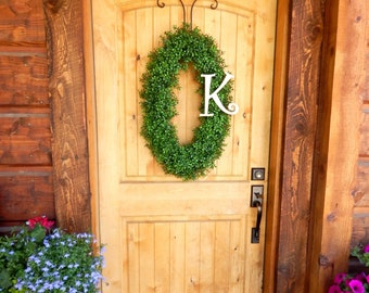 Monogram Boxwood Wreath-Winter Wreath-Spring Wreath-Housewarming Gift-OVAL Boxwood Wreath- Wreath-Outdoor Wreath-Year Round Wreath-Gifts