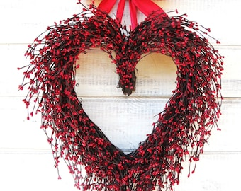 Wedding Decor-Wedding Wreath-Mothers Day Gift-Red Heart Wreath-Gift for Mom-Weddings-Red Wreath-Anniversary Gift-Housewarming Gift