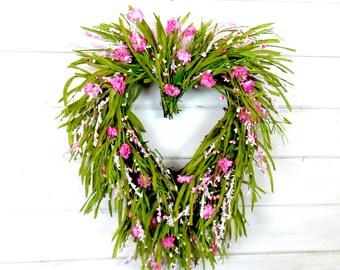 Mothers Day Gift-Spring Door Wreath-Wildflower Wreath-Heart Wreath-Valentines Day Wreath-Gift for Mom-Scented Wreath-Anniversary-Weddings